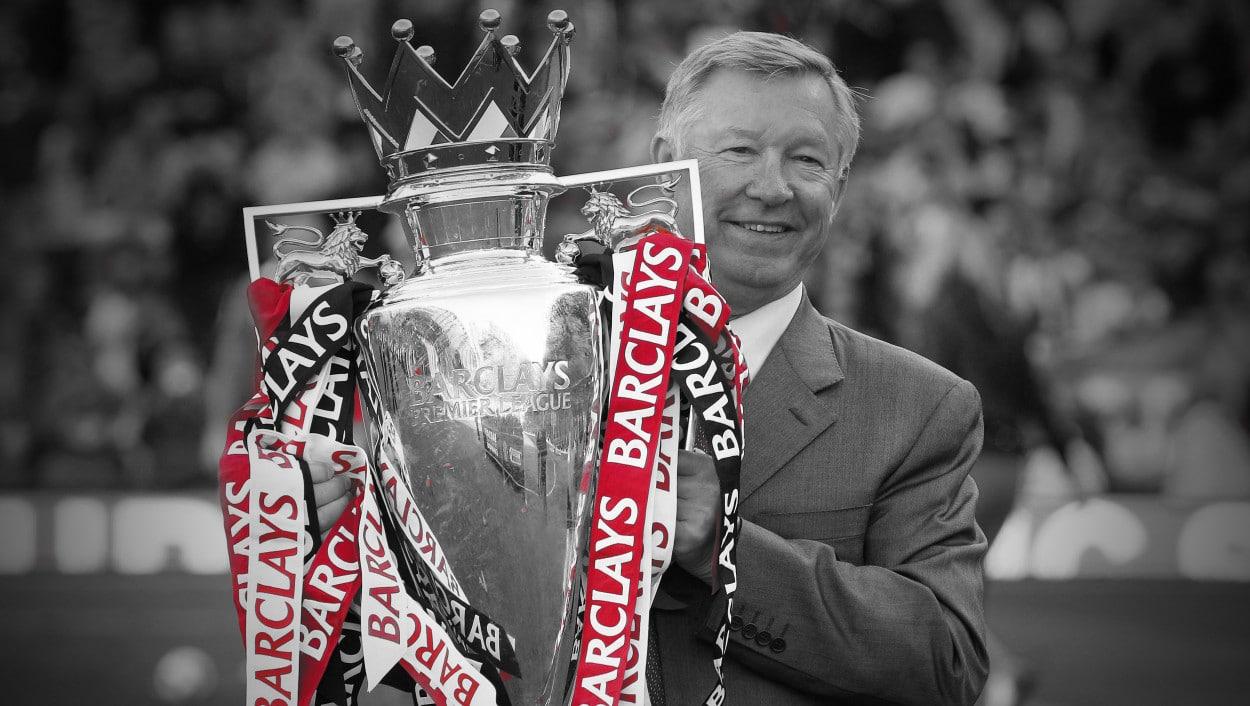 Sir Alex Ferguson, with Premier League trophy