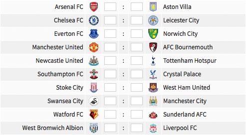 Premier League fixtures, 15 May 2016